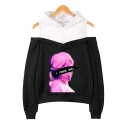 Trendy Vaporwave Cool Funny Figure Letter I NEED YOU Print Cold Shoulder Long Sleeve Loose Relaxed Hoodie