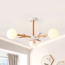Simple Style Sphere Chandelier with Bird Glass 3/6/8 Lights White Pendant Light for Villa