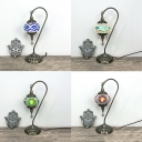 Moroccan Style Hanging Table Light Orb Shade 1 Light Stained Glass Table Lamp for Bedroom Bar