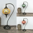 Globe Living Room Table Light Stained Glass 1 Light Art Deco Plug-In Table Lamp in Green/Red/Yellow