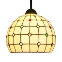 10.5 Inch Grid Globe Pendant Lamp Tiffany Traditional Glass Hanging Light with Colorful Beads for Restaurant