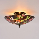 Floral Theme Living Room Ceiling Fixture Stained Glass 3 Lights Vintage Semi Flush Ceiling Light