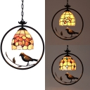 Beads/Flower/Magnolia Hanging Lamp Shell 1 Head Rustic Style Hanging Light with Bird Decoration