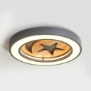 Living Room Star Ceiling Mount Light Wood Nordic Style Candy Colored LED Ceiling Lamp in Warm White/White