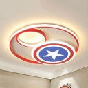Metal Star LED Flush Light Cartoon Stepless Dimming/Third Gear/White Ceiling Light for Boy Bedroom