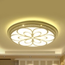 Metal Blossom LED Flush Light Hallway Foyer Contemporary Ceiling Mount Light in White