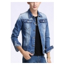 Men's Basic Simple Plain Long Sleeve Double Pocket Front Bleach Blue Fitted Denim Jacket