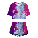 Summer New Stylish Vaporwave Cool 3D Printed Cropped Tee Dolphin Shorts Sport Two-Piece Set