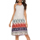 Womens Summer Chic Holiday Bohemian Pattern Halter Neck Midi Swing Cami Dress