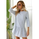 Light Blue Plaid Pattern Round Neck Three-Quarter Sleeve Mini Shift Ruffle Dress