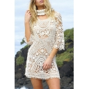 Summer Holiday Fashion White V-Neck Open Back Sexy Hollow Out Crochet Lace Mini Dress Bikini Cover Up