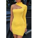 Womens Sexy Cutout One Shoulder High Neck Long Sleeve Plain Mini Bodycon Dress