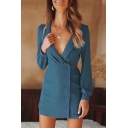 New Trendy Simple Plain Lapel Collar Long Sleeve Button Down Mini Sheath Blazer Dress for Women