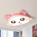 Pink Kitty LED Ceiling Mount Light Cartoon Metal Stepless Dimming/Warm/White Flush Light for Girl Bedroom