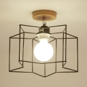 Industrial Wire Frame Ceiling Lamp Iron One Light Black/White Semi Flush Ceiling Light for Stair
