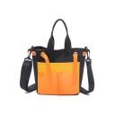 Cool Fashion Color Block Multi-pocket Transparent Drawstring Canvas Shoulder Messenger Bag 20*10*23 CM