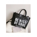 Fashion Letter BE NICE BE COOL Printed PU Leather Tote Bag Crossbody Shoulder Bag 39*28*9 CM