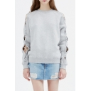 Womens Street Fashion Solid Color Crewneck Hollow Out Tied Long Sleeve Grey Sweatshirt