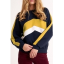 Trendy Color Block Round Neck Long Sleeve Casual Loose Pullover Navy Sweatshirt