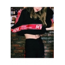 Girls Street Style Hip Hop Letter Tape Long Sleeve Casual Loose Cropped Hoodie