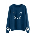Girls Cute Cartoon Cat Printed Round Neck Long Sleeve Casual Loose Pullover Sweatshirt