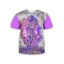 Cool 3D Game Figure Pattern Basic Round Neck Short Sleeve Purple T-Shirt