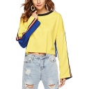 Fashion Two-Tone Stripe Tape Long Sleeve Round Neck Yellow and Blue Crop Sweatshirt