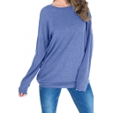 Womens Denim Blue Colorblocked Stripe Back Round Neck Long Sleeve Casual Loose Sweatshirt