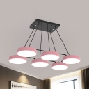 4/6/9 Heads Round Chandelier Simple Style Acrylic Candy Colored Pendant Light for Living Room