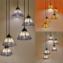 5 Lights Craftsman Hanging Light Tiffany Vintage Ceiling Pendant in Blue/Orange for Hotel