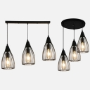 Cone Wire Frame Suspension Light Metal 3 Lights Retro Loft Hanging Light in Black Finish