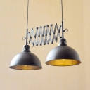 Dome Shade Dining Table Pendant Light Metal 2 Heads Antique Style Adjustable Hanging Lamp in Black