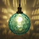 Bedroom Foyer Sphere Pendant Lamp Dimple Glass 1 Light Modern Stylish Blue Hanging Light