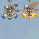 Stainless Steel Ceiling Fan Restaurant 5 Lights Antique Stylish Semi Flush Ceiling Light in Blue/Yellow