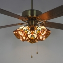 Stained Glass Bell LED Ceiling Fan Bedroom 3 Heads 42 Inch Victorian Semi Ceiling Mount Light with Pull Chain