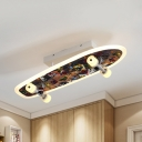 Metal Skateboard LED Semi Flush Mount Light Modern Multi-Color Ceiling Lamp in Warm/White for Boys Bedroom