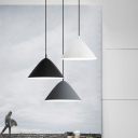 1 Light Conical Pendant Light Modern Style Metal Suspension Light in Black/Gray/White for Bar