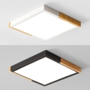 Simple Style Black/White Flush Light Square Shade Acrylic Warm/White Lighting LED Ceiling Lamp for Restaurant