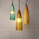 Amber/Blue/Brown Melon Pendant Lamp 1 Head Art Deco Flute Glass Hanging Light for Office Bar