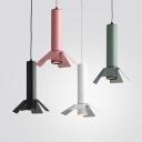 Aluminum Flute Shape Pendant Light 1 Head Macaron Loft Black/Green/Pink/White Hanging Light with White Lighting for Shop