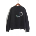 Funny Pocket Comic Character Printed Basic Mock Neck Long Sleeve Loose Fit Pullover Sweatshirt