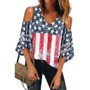 Summer Trendy American Flag Printed Cold Shoulder Mesh Panel Sleeve Loose Fit V-Neck T-Shirt