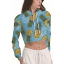Fashion Allover Pineapple Pattern Long Sleeve Womens Blue Cropped Hoodie