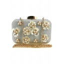 New Fashion Pearl Floral Embellishment Beaded Evening Clutch Bag 20*7*13 CM