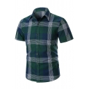 Summer Stylish Plaid Check Print Short Sleeve Business Fitted Shirt for Men