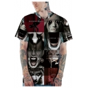 Mens Cool Horror Figure Printed Round Neck Short Sleeve Casual Loose T-Shirt