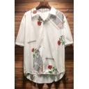 Mens Summer Stylish Letter Floral Printed Short Sleeve Casual Loose Button Beach Shirt