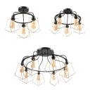 Vintage Round Semi Flush Mount Light 3/5/8 Lights Metal Ceiling Light in Black for Living Room