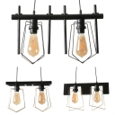 Wire Frame Pendant Light Restaurant Coffee Shop 2 Lights Industrial Hanging Light in Black
