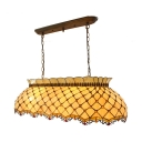 Glass Grid Shade Hanging Light with Beads Dining Room Tiffany Traditional Pendant Light in Beige